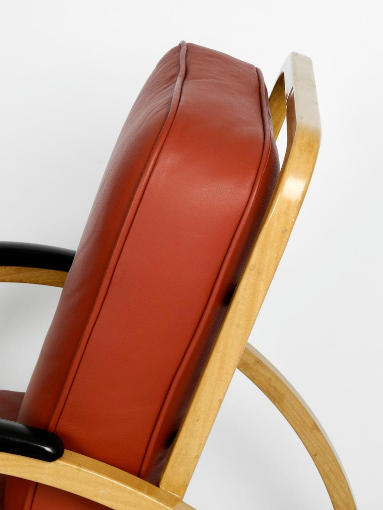 Mid-20th Century Pair of Midcentury Metal Leather Armchairs Newly Upholstered Norman Bel Geddes For Sale