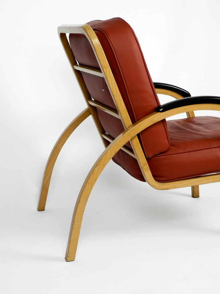 Pair of Midcentury Metal Leather Armchairs Newly Upholstered Norman Bel Geddes For Sale 1