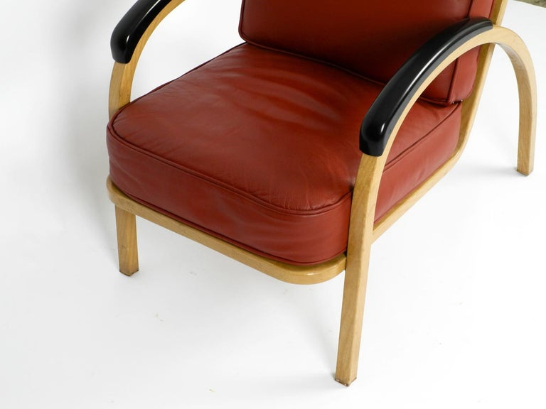Pair of Midcentury Metal Leather Armchairs Newly Upholstered Norman Bel Geddes For Sale 3