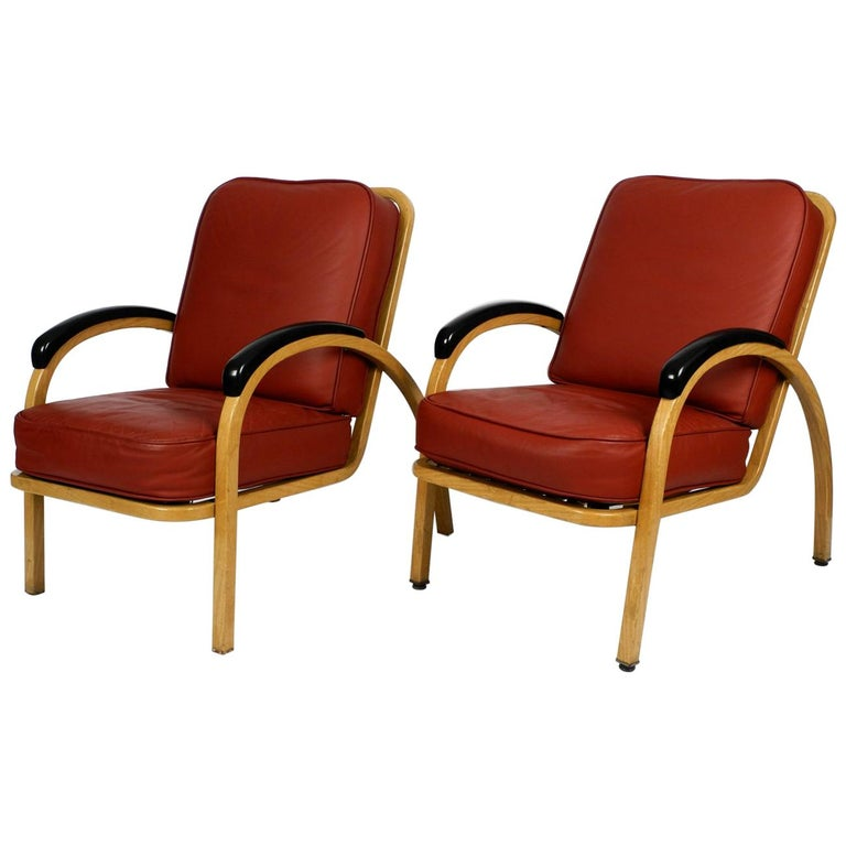 Pair of Midcentury Metal Leather Armchairs Newly Upholstered Norman Bel Geddes For Sale