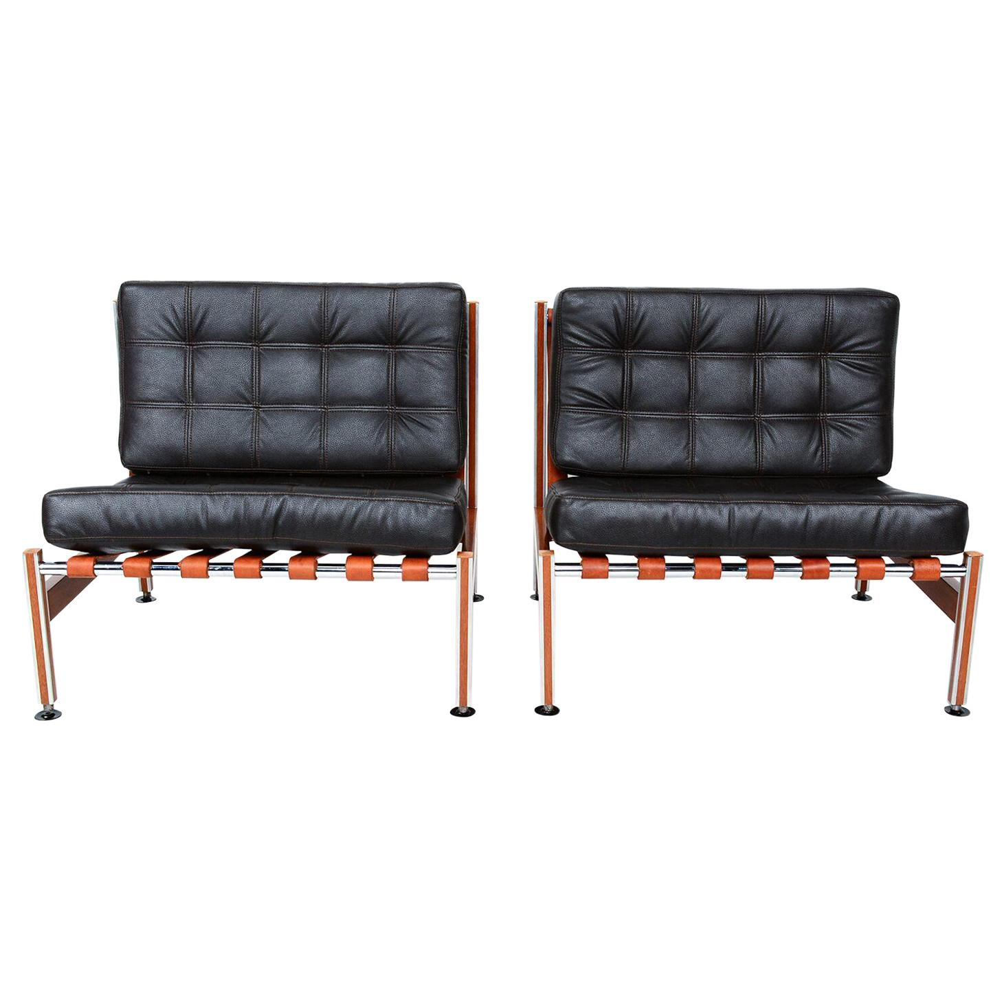Black Leather & Mahogany Barcelona Style Lounge Chairs Mexican Modernism 1970s