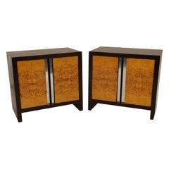 Pair of Midcentury Milo Baughman Style Ebony Burl Nightstands Tables