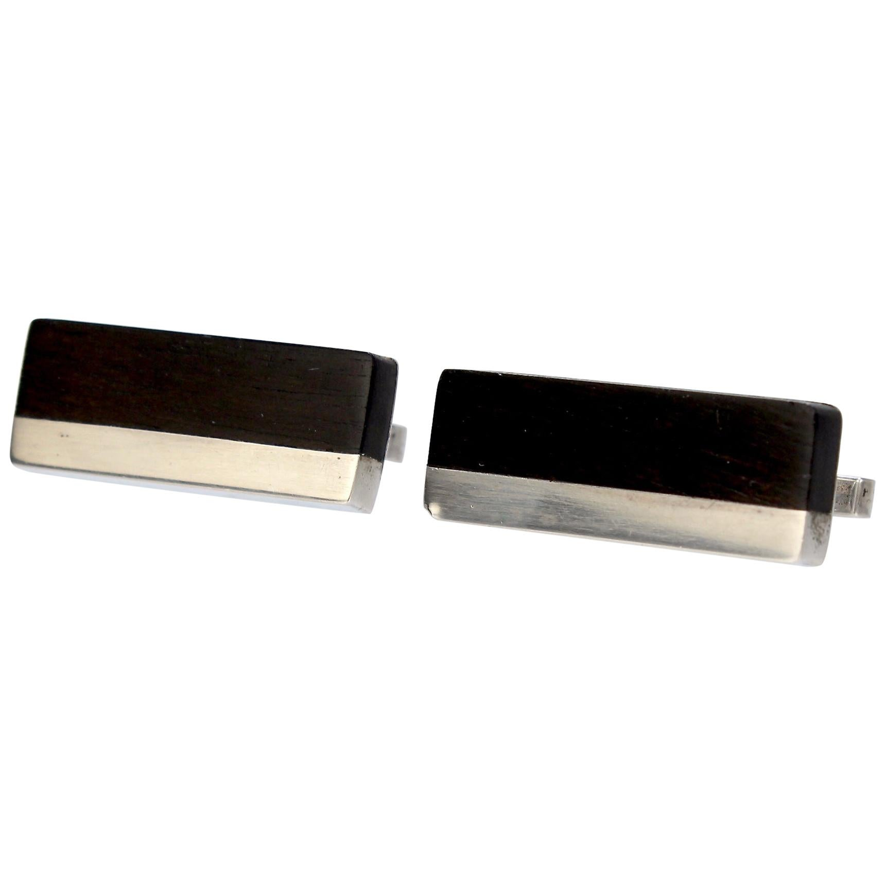 Pair of Midcentury Milton Caravagno Modernist Sterling and Wood Cufflinks
