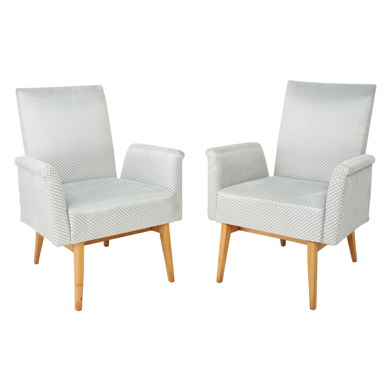 Pair of Mid-Century Modern Baby Blue Velvet Club Armchairs, 1960s