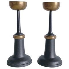 Pair of Midcentury Modern Bronze and Black Cast Iron Candlesticks, 1960s, France