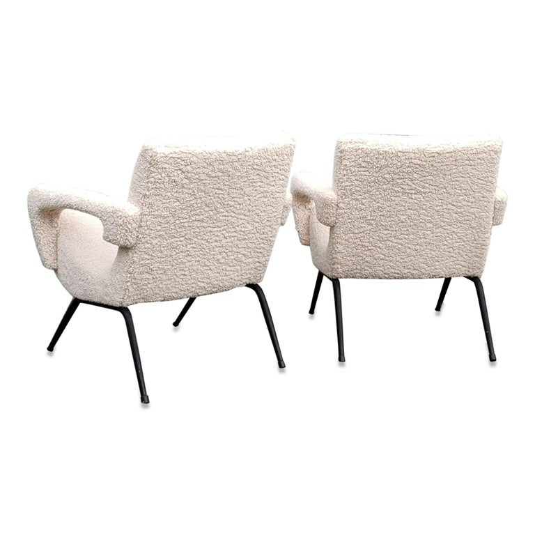 Pair of compact armchairs freshly re upholstered these chairs will ship from Paris France and can be returned to either France or NY USA location price does not include shipping nor possible customs related charges for safer shipping, feet will