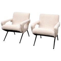 Pair of Mid-Century Modern Compact Armchairs in White Bouclette, France, 1950s