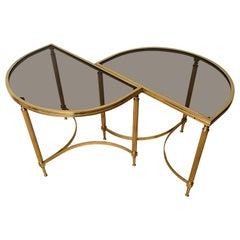 Pair of Midcentury Modern Maison Jansen Brass Coffee or End Tables w. Glass Tops