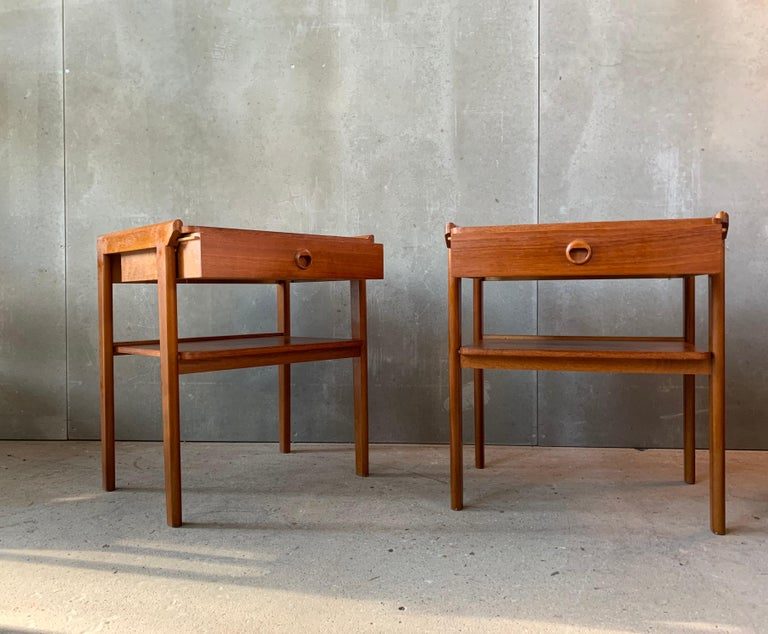 Pair of vintage nightstands manufactured in Denmark in the 1960s.