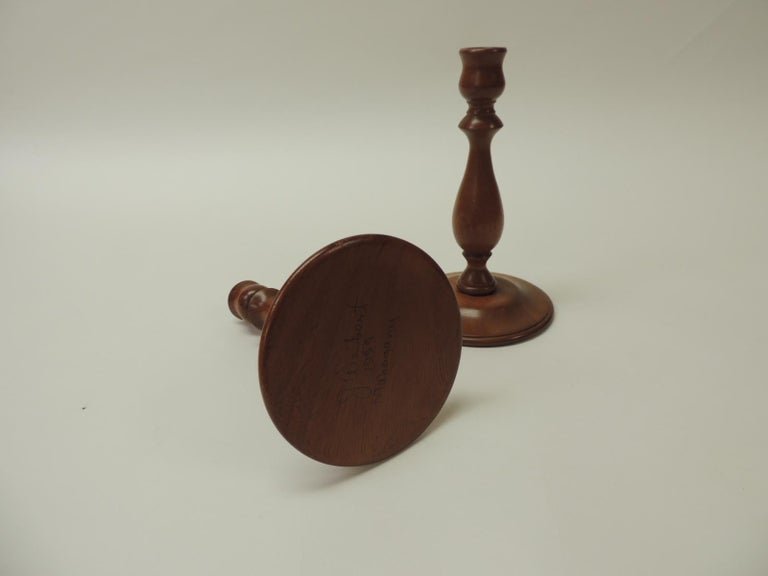 North American Pair of Mid-Century Modern Round Mahogany Candleholders For Sale