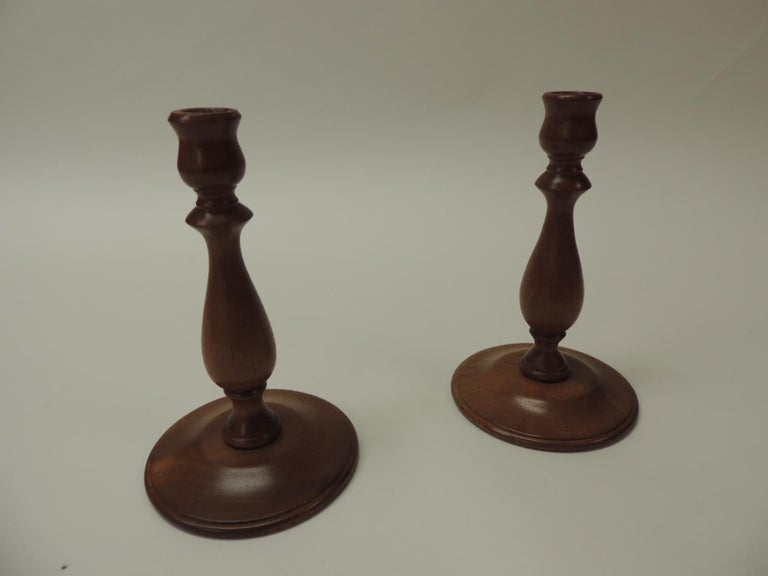 Hand-Crafted Pair of Mid-Century Modern Round Mahogany Candleholders For Sale