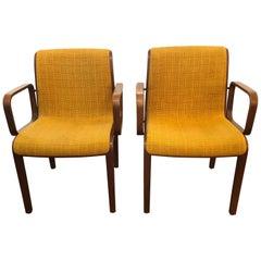 Pair of Midcentury Modern Teak and Wool Bill Stephens for Knoll Armchairs