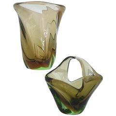 Pair of Mid-Century Modern Vintage Vases by Beranek for Skrdlovice, 1958