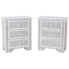 Pair of Midcentury Moorish Style Nightstands with Bone Mosaics