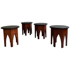 Pair of Midcentury Moroccan Hexagonal Walnut Stools after Harvey Probber
