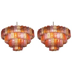 Pair of Midcentury Multicoloured Murano Glass Chandelier by Zuccheri for Venini