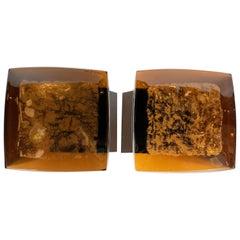 Pair of Midcentury Murano Glass, 24-Karat Gold and Oil Rubbed Bronze Door Pulls