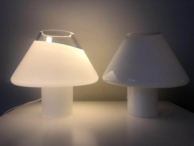 Mid-Century Modern Pair of Midcentury Murano Italian Carlo Nason for Mazzega Table Lamps, 1970s For Sale