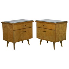 Pair of Midcentury Nightstands French Side Cabinets Bedside Tables Blond