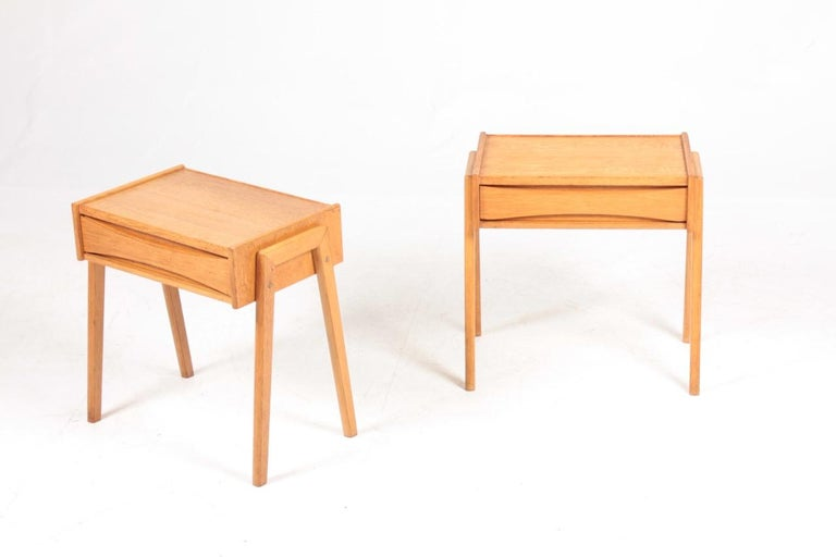 Pair of nightstands in oak designed and made in Denmark 1960s.