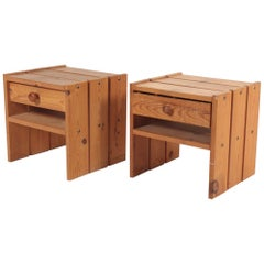 Pair of Midcentury Nightstands in Pine, Danish Design, 1970s