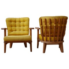 Pair of Midcentury Oak Guillerme et Chambron Armchairs