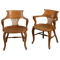 Pair of Midcentury Oak Open Armchairs