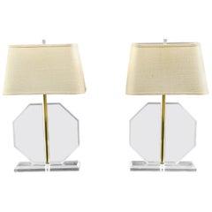 Pair of Midcentury Octagonal Lucite Lamps
