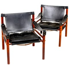 Pair of Midcentury of Scirocco Chairs in Leather, Designed by Arne Norell