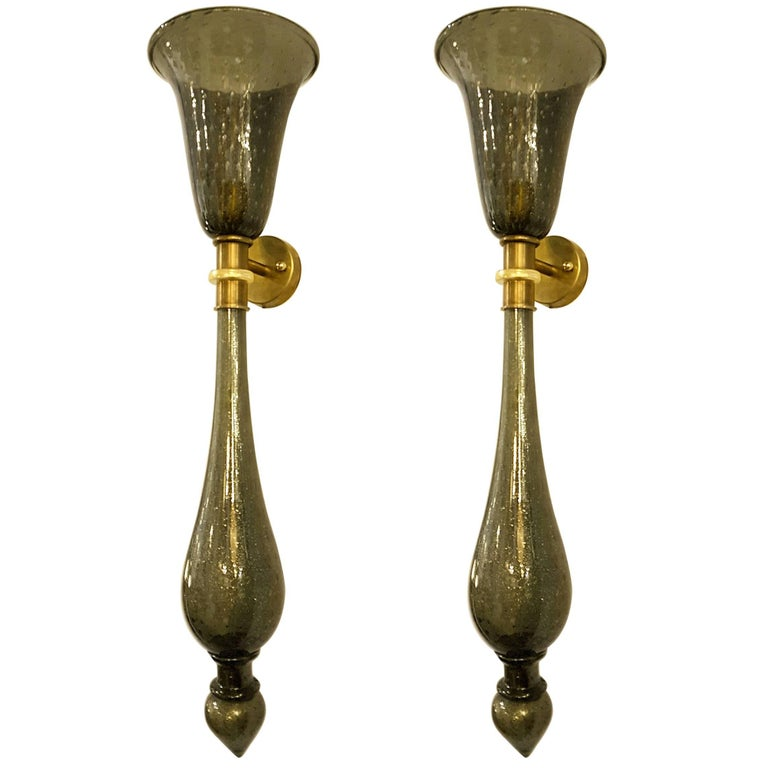 Pair of Midcentury Olive with Gold Murano Glass and Brass Candelabra Sconces