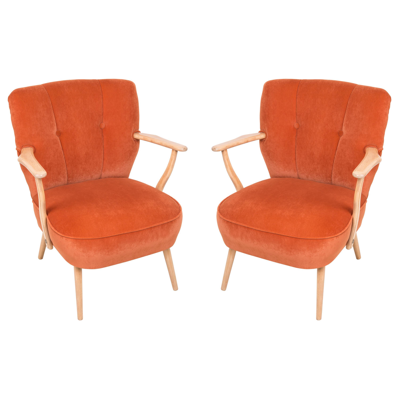 Pair of Midcentury Orange Cocktail Armchairs, Germany, 1960s