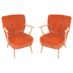 Pair of Midcentury Orange Cocktail Armchairs, Germany, 1960s