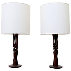 Pair of Midcentury Organic Carved Teak Table Lamp with New Shades