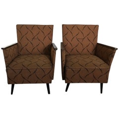 Pair of Midcentury Original Fabric and Walnut Wood Hungarian Armchairs, 1950