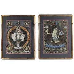 Pair of Midcentury Original Hand-Painted Tibetan Watercolors, circa 1950s