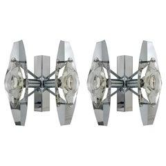 Pair of Midcentury Oscar Torlasco Glass Italian Sconces for Stilkronen, 1960s