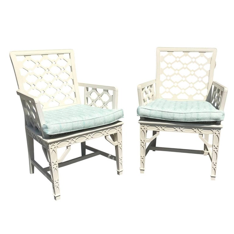 Pair of Midcentury Painted Chippendale Chairs, Custom Paint