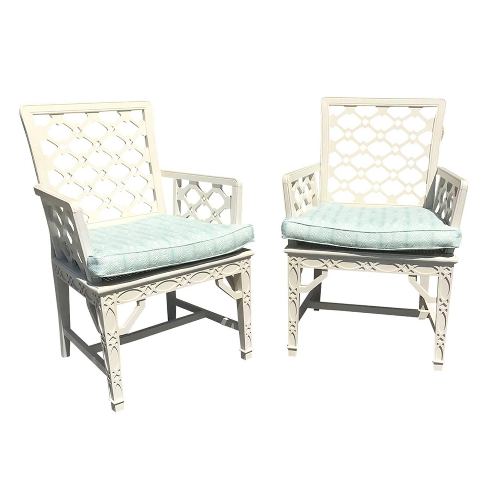 Pair Of Midcentury Painted Chippendale Chairs, Custom Paint For Sale