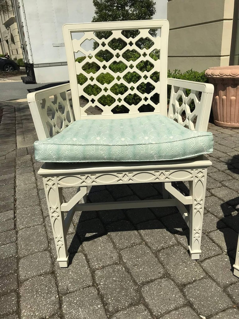 Pair of Midcentury Painted Chippendale Chairs, Custom Paint For Sale 1