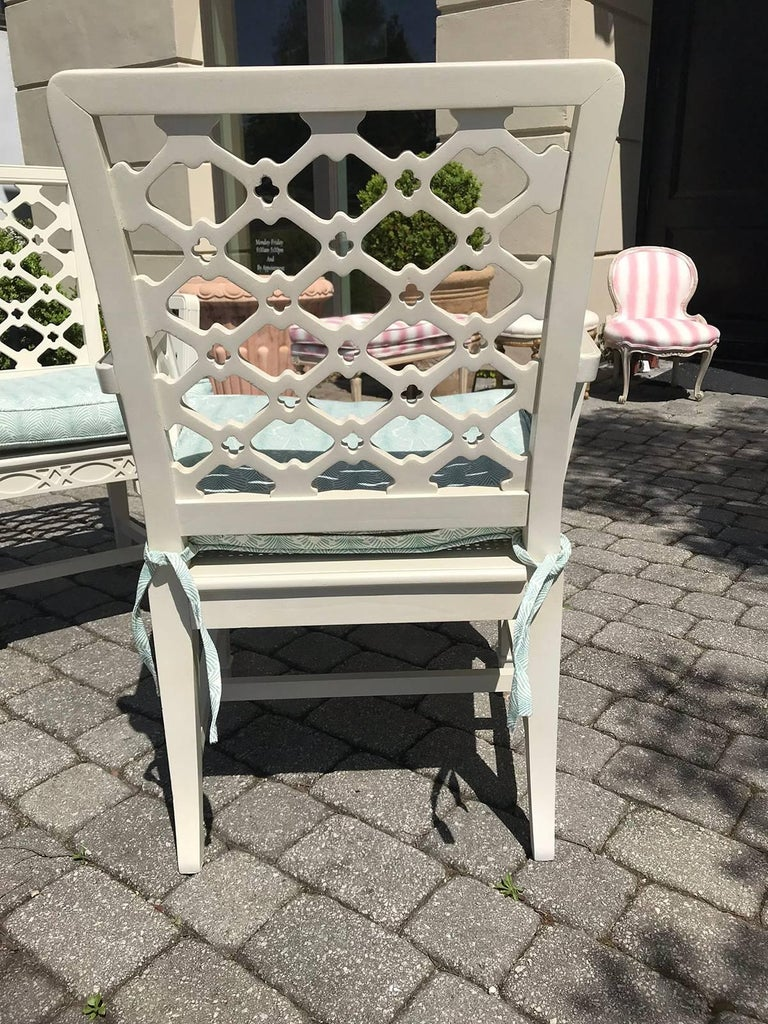 Pair of Midcentury Painted Chippendale Chairs, Custom Paint For Sale 4