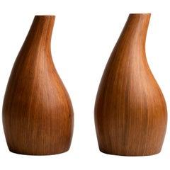Pair of Midcentury Palm Wood Vases, America, 1950