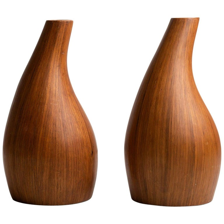 Pair of Midcentury Palm Wood Vases, America, 1950 For Sale