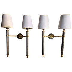 Pair of Midcentury Patinated Brass Double Wall Sconces by Lunel