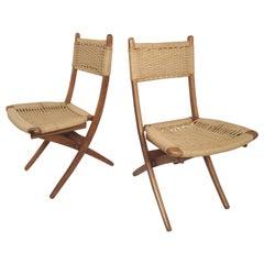 Pair of Midcentury Patio Rope Chairs