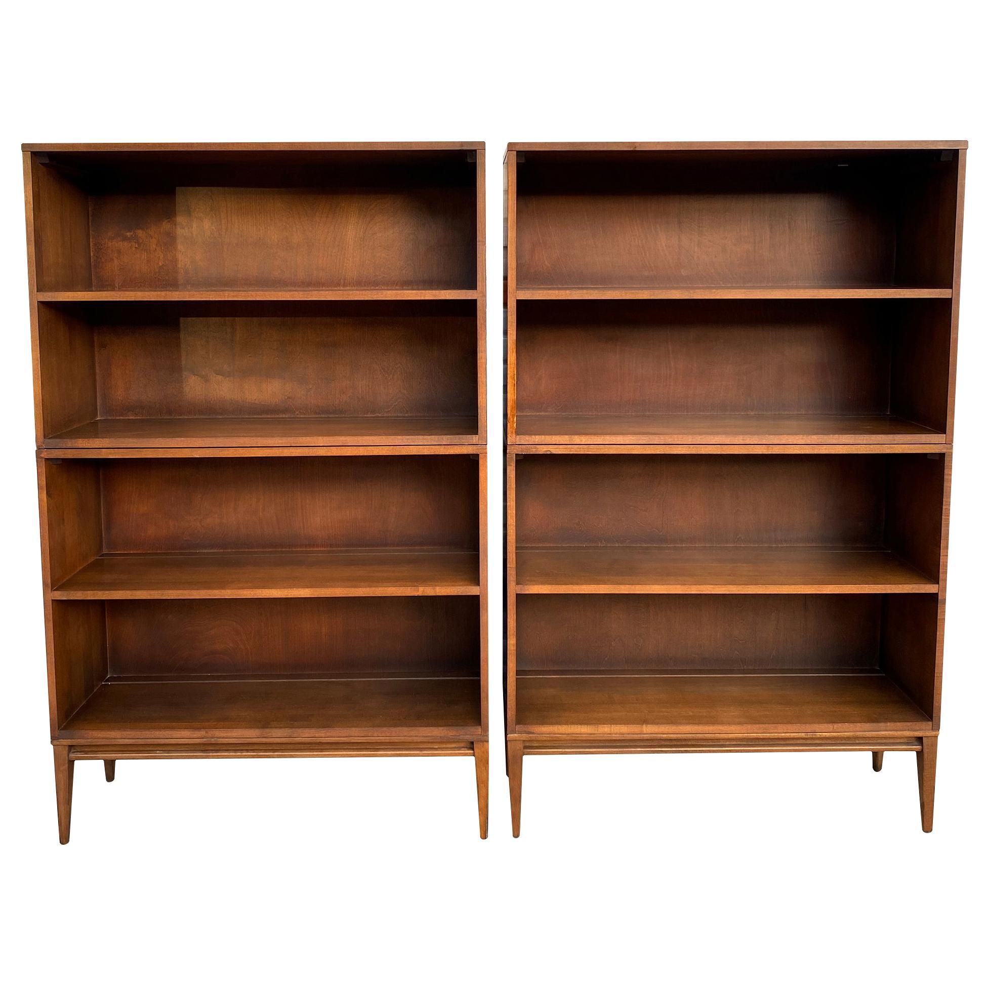 Pair of Midcentury Paul McCobb Double Bookshelves #1516 Maple Walnut Finish
