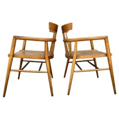 Pair of Midcentury Paul McCobb Planner Group Captain Lounge Maple Arm Chairs