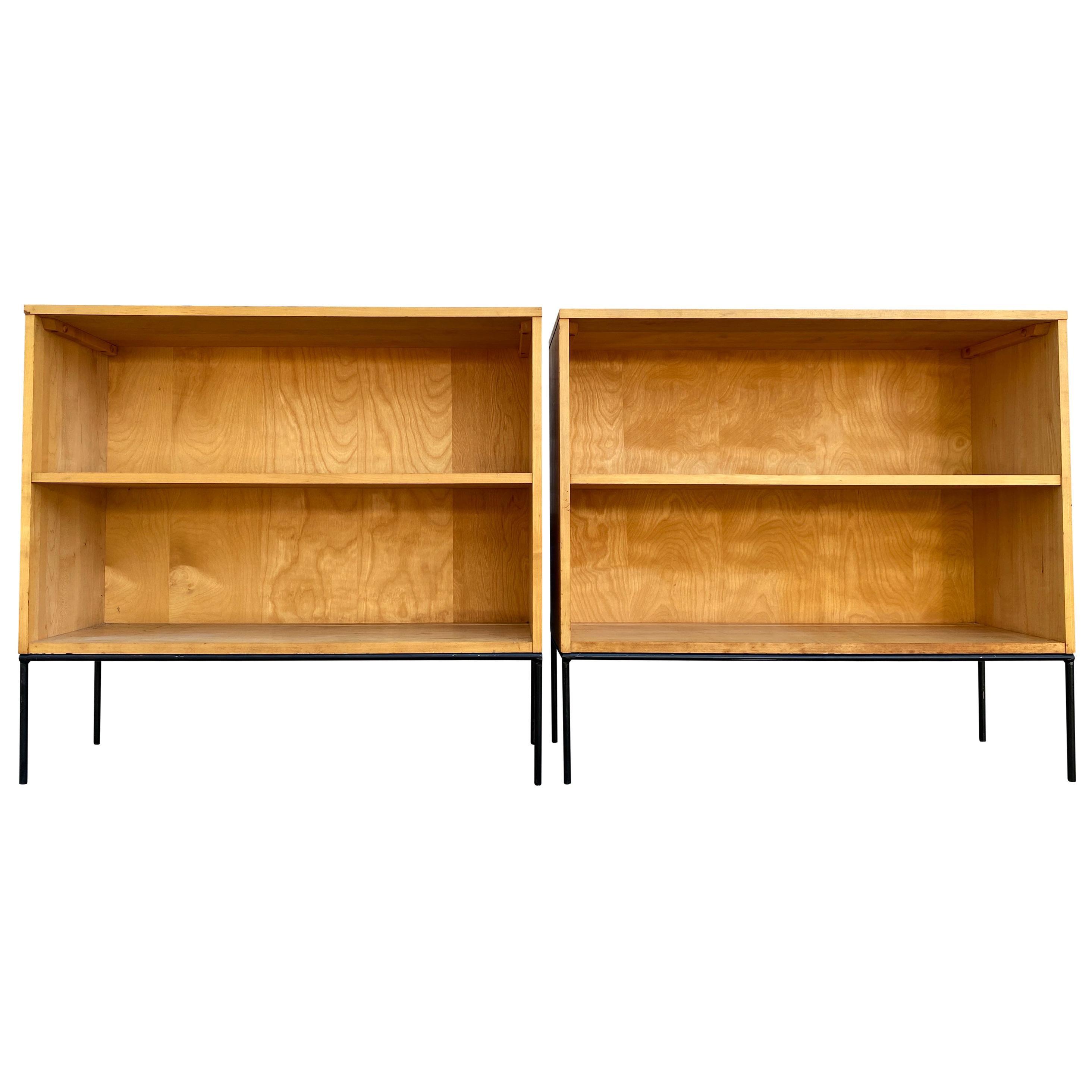 Pair of Midcentury Paul McCobb Single Bookcase #1516 Maple Iron Base Blonde