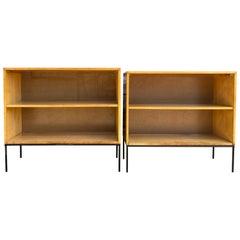 Pair of Midcentury Paul McCobb Single Bookcase #1516 Maple Iron Base Blonde Perf