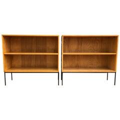 Pair of Midcentury Paul McCobb Single Bookcase #1516 Maple Iron Base