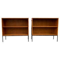 Pair of Midcentury Paul McCobb Single Bookshelf #1516 Maple Iron Base Tobacco
